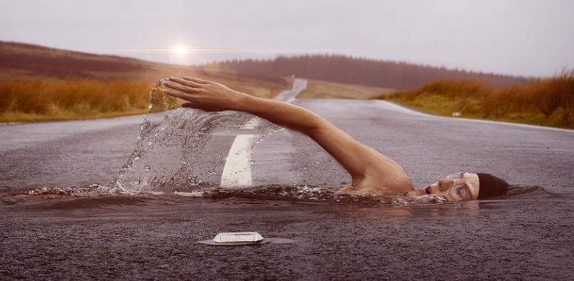 swimming on road illustration